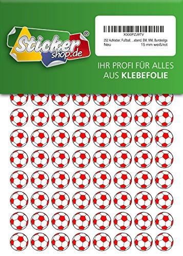 252 Aufkleber, Fußball, Sticker, 15 mm, weiß/rot, aus PVC, Folie, bedruckt, selbstklebend, EM, WM, Bundesliga -