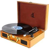 Plattenspieler, dl Record Player mit 3 Geschwindigkeiten 33/45/78 Tragbarer Vintage Holz Koffer Plattenspieler mit…