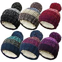 19a04f91bfa TOSKATOK Unisex Mens Ladies Warm Winter POM POM Striped Beanie HAT with  Cosy Fleece Lining
