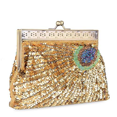 Luxus Pfauen Clutch Abendtasche Handtasche Abendtasche Ball Hochzeit Pailetten (Blau) Gold
