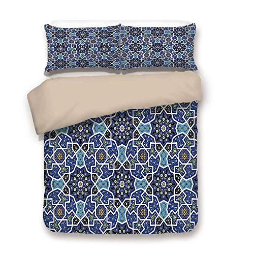 Bettbezug-Set, marokkanische, ostpersische Zigeuner-Jacquard-Art Arabische Kultur Folk Tracery geometrische Bild, Royal Blue, dekorative 3-teilige Bettwäsche-Set von 2 Pillow Shams Full / Queen Size (Bettwäsche Blue Royal Queen)