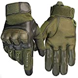 Men's Full Finger Anti-Skid Smart Touch Screen Outdoor Sports Gloves for Motorcycle Cycling Climbing hiking (Green, Medium)