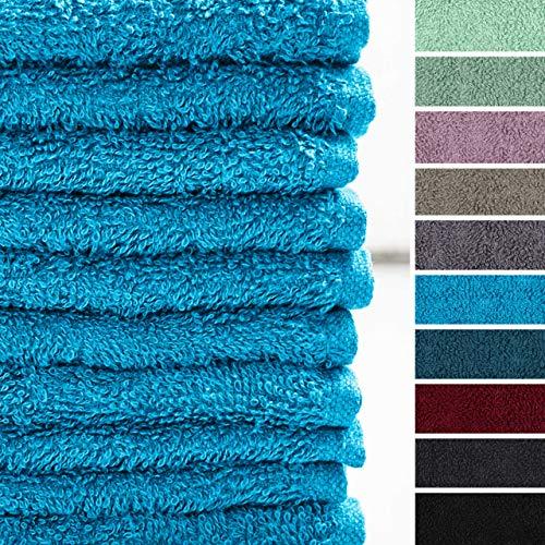 Lumaland Premium 10er Set Seiftücher Handtücher Frottee 30 x 30 cm aus 100% Baumwolle 420 g/m² mit Aufhänger türkis