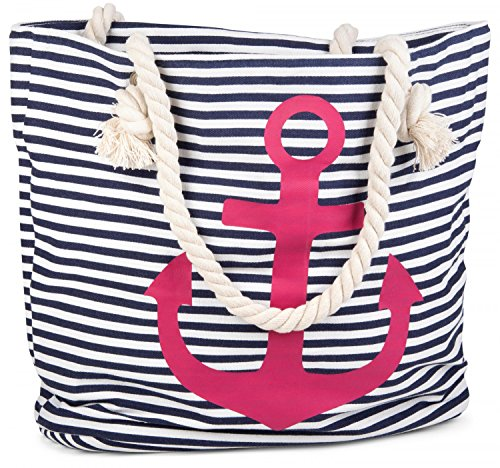 styleBREAKER borsone da spiaggia a righe con ancora, borsa scolastica, borsa per shopping, donna 02012038, colore:Nero-Bianco / Oro Marino-Bianco / Rosa