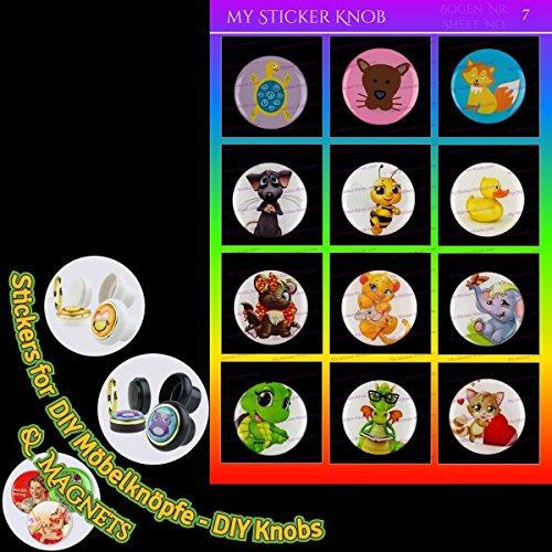 Do it yourself MOTIV DIY Bogen7 Kinder Kids Tiere Cartoons 12er für DIY Möbelknöpfe und DIY Magnete für Schrank, Schublade, Kommode, Tür, Küche, Bad, Haushalt, Kinderzimmer, Kühlschrank, Büro, Whiteboard - 40mm KUPPEL