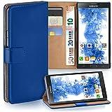 moex Samsung Galaxy Note 3 Neo | Hülle Blau mit Karten-Fach 360° Book Klapp-Hülle Handytasche Kunst-Leder Handyhülle für Samsung Galaxy Note 3 Neo Case Flip Cover Schutzhülle Tasche