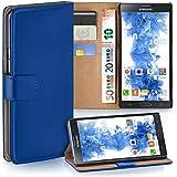 Samsung Galaxy Note 3 Hülle Blau mit Kartenfach [OneFlow Wallet Cover] Handytasche Flip-Case Handyhülle Etui Kunst-Leder Tasche für Samsung Galaxy Note 3 Case Book Schutzhülle