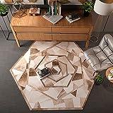 QINGTAOSHOP Polygonaler Teppich/Multifunktionaler Teppich/Kaffeetisch Computerstuhl Teppich braunes geometrisches Muster (Size : 200CM)