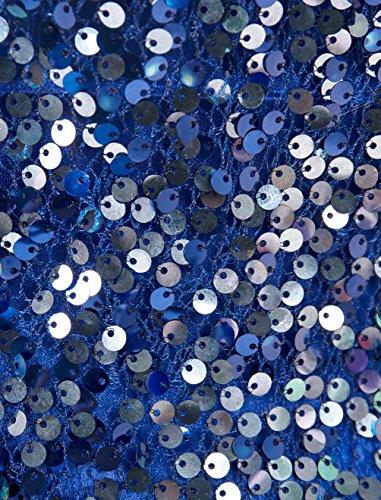 Find Dress Elégant Sexy Robe de Soirée/Cocktail/Cérémonie à paillette sans Bretelle Courte avec Sequins en Tulle Bleu