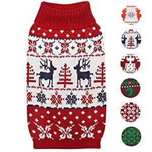 Blueberry Pet Vintage Ugly Christmas Reindeer Holiday Festive Pullover Dog Jumper in Tango Red & Navy Blue, Back Length 51cm, Pack of 1 Clothes for Dogs