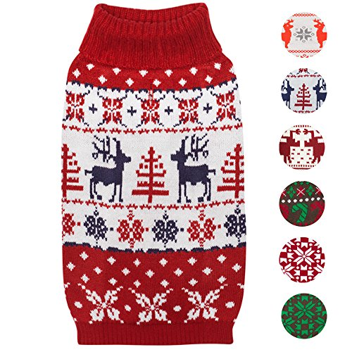 Blueberry Pet Retro 'Ugly' Weihnachtsrentier Festlicher Pullover Hundepulli in Tango Rot & Marineblau, Rückenlänge 30cm, Einzelpackung Bekleidung für Hunde -