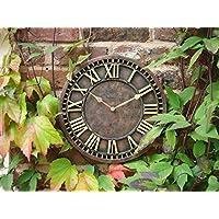 Reloj de pared rústico pintado a mano para interior y exterior para jardín 30 cm