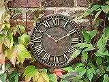 Horloge murale de jardin peinte à la main de Couleur rouille pour décoration d'intérieur ou d'extérieur 30cm
