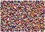 myfelt Lotte Filzkugelteppich, rechteckig, Schurwolle, bunt, 120 x 170 cm
