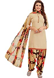 Ishin Women's Synthetic Beige Printed Unstitched Salwar Suit Dress Material With Dupatta