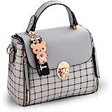 NICOLE&DORIS Bolsos para mujer bolso con solapa para niñas Bolsos de Mano lindos bolsos bolsos de hombro gris