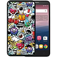 Funda Alcatel OneTouch Pop 3 5.5, WoowCase [ Alcatel OneTouch Pop 3 5.5 ] Funda Silicona Gel Flexible Grafiti de Colores Divertido, Carcasa Case TPU Silicona - Negro