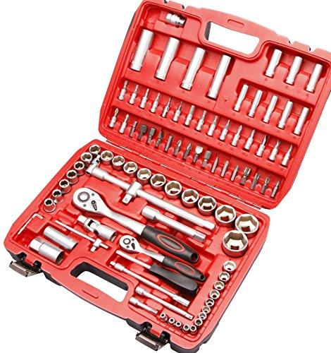 Steckschlüsselsatz 94 tlg 1/4 1/2 Knarrenkasten Werkzeugkoffer Nuss Ratsche