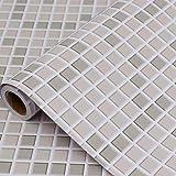 Hode Mosaico Papel Adhesivo para Azulejos Cocina 40X300cm Impermeable Papel Pintado Autoadhesivo Baño Cocina Marrón Claro Vin