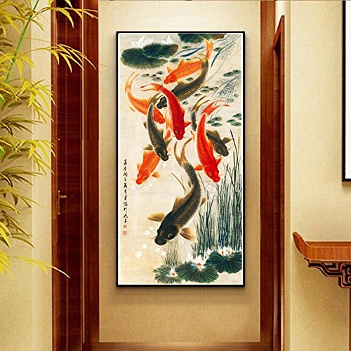 Daeou Xuan Guan Malerei Wohnzimmer Gang Gang hing neun Zierfische Karte Bereicherung Restaurant Wandbild