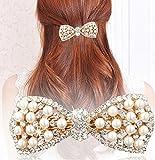 Distinct® Niedlich Bogen Crystal Pearl Haarspangen Haar Clip Haarnadel Kopfbedeckungen für Frauen Mode Schmuck Haarschmuck (Gold)