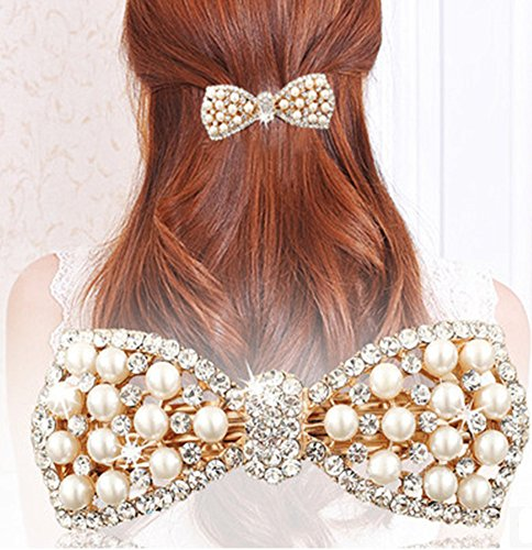 Distinct® Cute Bow Crystal Pearl Barrettes Hair Clip Hairpin Headwear for Women Fashion Hair Jewelry Accessories (Gold)