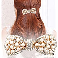 Distinct Cute Bow Crystal Pearl Barrettes Hair Clip Hairpin Headwear for Women Fashion Hair Jewelry Accessories