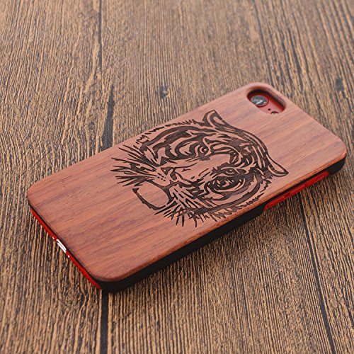 Legno Naturale Case Cover per iphone 7 Plus /iPhone 7+ (5.5 Pollici), Vandot scratch resistantAdvanced vero legno Wooden Intaglio Pattern Legno Naturale Back Cover shock-absorption Nero Opaco Shell ha Designo 29