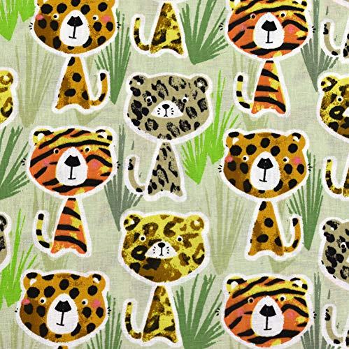 MAGAM-Stoffe Braves Kätzchen Baumwollstoff Kinderstoff Oeko-Tex Meterware 50cm (Orange Tiger Katze Kostüm)