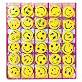 #8: ROTLE Smiley Face Expressions Button Pins Badge - Set of 30 - Birthday, Office and Theme Party Supplies.