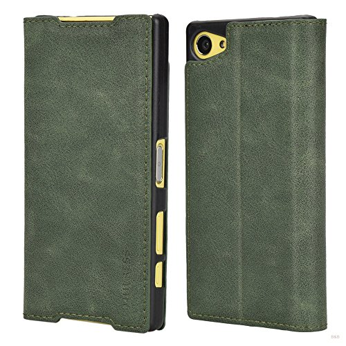 Mulbess Sony Xperia Z5 Compact Hülle, Leder Flip Tasche mit Wallet Case für Sony Z5 Compact Handy Hülle Leder, Grün