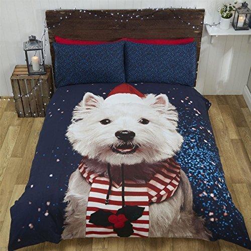 Weihnachten West Highland Terrier Hund Hut Schal blau weiss King Size ( uni rot passendes Leintuch - 152 x 200cm + 25) uni rot Hausfrau Kissenbezug 6 Teile Bettwäsche Set (Decke Highland West)