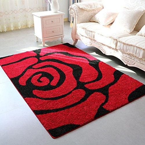 Brilliant firm Teppiche & Matten Teppiche Rote Rose Muster Teppich Wohnzimmer Tee Tisch verdicken große Teppich Schlafzimmer Nachtdecke (Color : Red, Size : 100*150cm) (Tee Rose-muster)