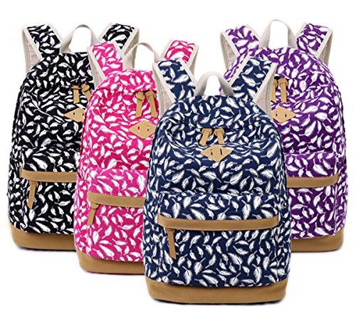 Tibes Art und Weise gedruckte Segeltuch Rucksack für Frauen Tiefes Blau