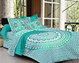 #2: SheetKart Traditional Ombre Mandala Printed 144 TC Cotton Double Bedsheet with 2 Pillow Covers - King Size, Green