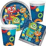 Reegen/Carpeta 33-TLG. Party-Set * LUSTIGE Roboter * für Kindergeburtstag und Motto-Party | mit Teller + Becher + Servietten | Deko Kinder Geburtstag Technik Robots