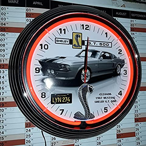 Neon Clock – Eleanor – 1967 MUSTANG SHELBY g.t.500 Car with Licens Plate Wall Clock Horloge