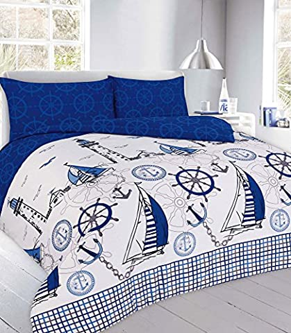 Goldstar® Jake Blue Single Size Duvet Sailboat Quilt Cover With
