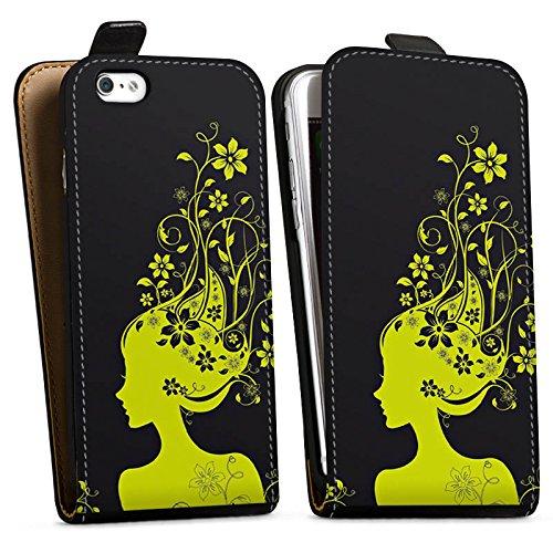 Apple iPhone X Silikon Hülle Case Schutzhülle Blüten Muster Mädchen Downflip Tasche schwarz