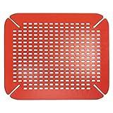 InterDesign Basic Protector de fregadero, alfombrilla de plástico PVC para fregaderos de cocina, salvaplatos para pila, rojo