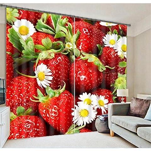 fragola fresco caldo villa albergo camera da letto completa di tende oscuranti decorano le finestre di lino 3D Finito , wide 2.64x high 2.41