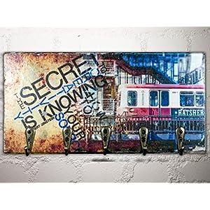 Schlüsselbrett *HAMBURG**DER HANSEAT* 24x12 cm - 5 Haken - *UNIKAT* - Holzbild, Wandbild, Landhausstil, Shabby Chic, Vintage, Bilder, Motive, Hamburg, Geschenkidee, Souvenir, Deko