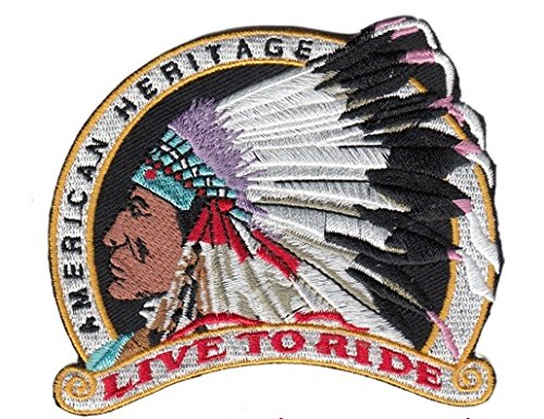 Patch Aufnäher American Heritage Indian Live To Ride 9 x7 cm -