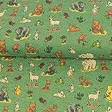 Jersey Stoff Waldtiere grün Kinderstoffe Bär Fuchs Hirsch