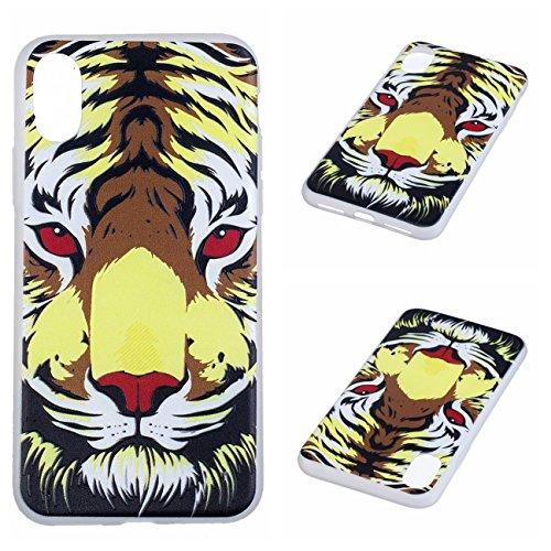 iPhone X Hülle, Voguecase Silikon Schutzhülle / Case / Cover / Hülle / TPU Gel Skin für Apple iPhone X(Weltkarte 01) + Gratis Universal Eingabestift Roter Augen Tiger
