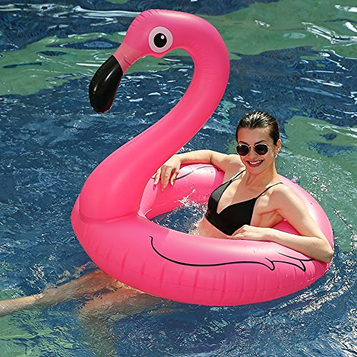 Riesiges Aufblasbares Flamingo Schwimmbad - Wishtime HQ17003 Pool Schwimmen 41 Inches Sommer Party Spielzeug Strand Liege Lilo