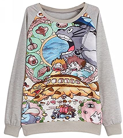 Meyison Mein Nachbar Totoro Langarm Sweatshirt Pullover Damen, Farbe Mehrfarbig, Größe:32-40