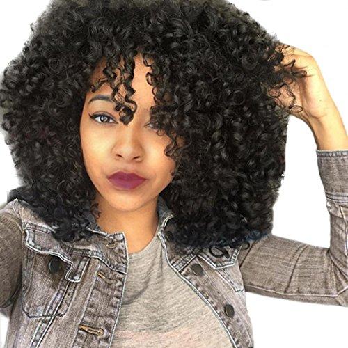 DRESS_start Damen Vordere Perücken für schwarze Frauen langes lockiges Haar 56cm Afro Hitze Haar Perücken Schwarz