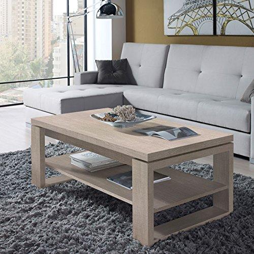 Tousmesmeubles Table Basse chêne Clair relevable - Reena - L 110 x l 60 x H 44/58 - Neuf