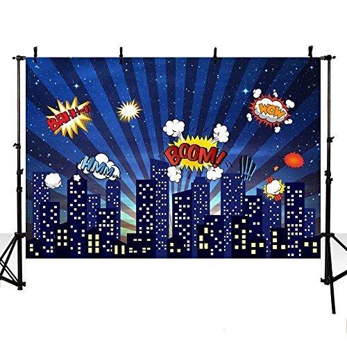 mehofoto Foto-Hintergrund Stadt Superheld-Design für Kinder mit 7-Hintergrund für Fotografie 5ft